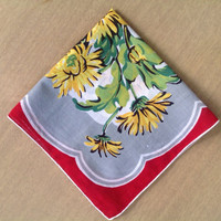 Vintage Handkerchief Striking Colors Yellow Flowers Burgundy and Grey Background