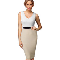 Nice-forever Casual Female Work Sexy women Summer Dress Midi V-neck Gorgeous knee length Bodycon Smart Slim Pencil dresses 695