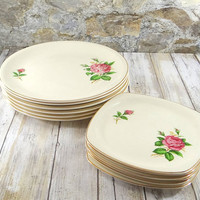 Red Rose Plate Set by Paden City Pottery