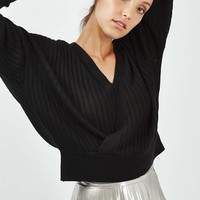 Ribbed Wrap Batwing Top