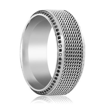 OGIER Men's Titanium Wedding Band with Steel Chain in Middle & Beveled Edges Set with Black Diamonds - 10MM