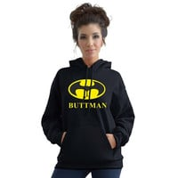 Stabilitees Funny Buttman Inspired by Batman Unisex Hoodies