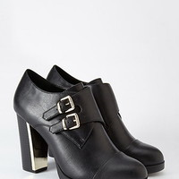 Buckled Metallic-Heel Bootie