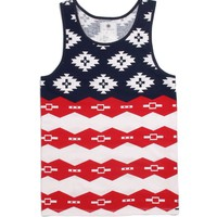 On The Byas USA Ethnic Tank Top - Mens Tee - Red -
