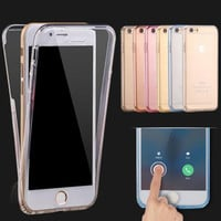 For iPhone 6 6S 6 plus 6S plus Shockproof Hybrid Back+ Front Rubber TPU Soft Touch Case full body 360 protective Clear Cover