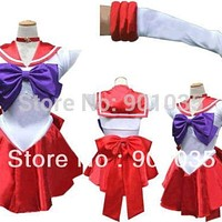 FREE SHIPPING  Sailor Moon mars Costume Cosplay Uniform Fancy Dress Up Fantasy Outfit & Gloves Macchar Cosplay Catalogue