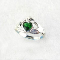 Claddagh Sterling Silver Green Crystal Ring