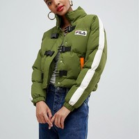 Fila padded jacket with buckle fastening and chest logo at asos.com