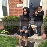 Black Lace Long Sleeve Cocktail Dresses 2017 Abendkleider Sexy Backless Short Party Dress for Black Girls Prom Homecoming Dress