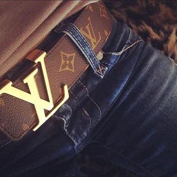 Louis Vuitton LV Classic Hot Sale Girls Boys Leather Belt Coffee