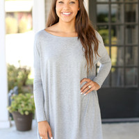 Piko Tunic Dress Long Sleeve- Grey