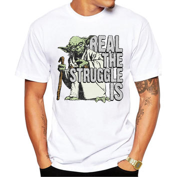 Real The Struggle Is Yoda Star Wars Men's Short Sleeve Casual White T-Shirt