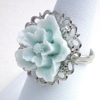 Pale Blue Sakura Flower on Silver Filigree Ring