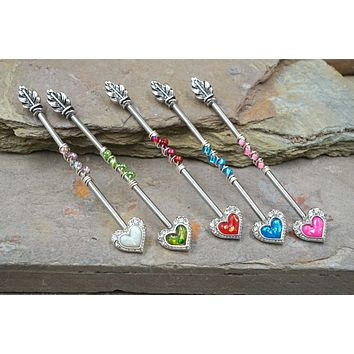 Opal Heart and Arrow Industrial Barbell