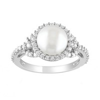Sterling Silver Freshwater Cultured Pearl & Cubic Zirconia Ring (White)