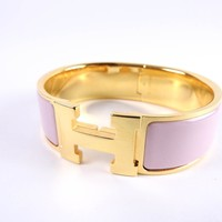 Auth HERMES Clic Clac GM H Bangle Bracelet Enamel Pink Gold Plated A-5954