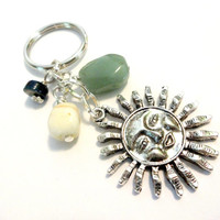 Celestial Sun Keychain, Summer Accessories, Yellow and Green Jade Earthy Key Ring