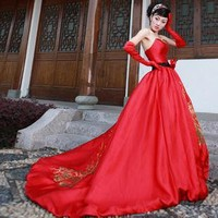 Red wedding gown wedding dress clothing | fashion4us