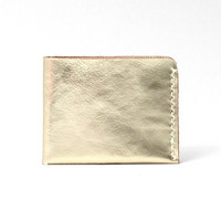 Minimal Leather Wallet for US Currency, 2-Slot Bifold Personalized Wallet, Handmade Hand-stitched, Metallic Gold Leather