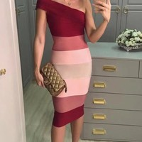 Cut The Line Red Pink Sleeveless One Shoulder Colorblock Bodycon Bandage Midi Dress