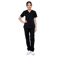 Women's Designer Slim Fit Contrast Medical Scrubs - Style 804