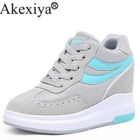 Akexiya Mesh Running Shoes For Women Height Increasing Platform Wedges Sneakers Girls Shoes Trainers Student Shoes Size 34-39