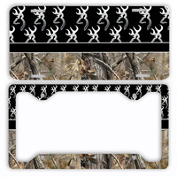 Black Browning Camo License Plate Frame Car Tag Country Hunting