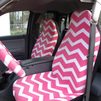 1 Set Of Pink /White Chevron Sest Covers and 1 Piece of Steeling Wheel Cover Custom Made
