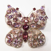 Vintage Lavender Purple Rhinestone Butterfly Pin Large Bug Insect Brooch 615DG