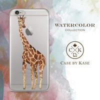 Watercolor Giraffe - Clear iPhone 6 Case, iPhone 6s Case, iPhone 6 Plus Case, iPhone 6s Plus Case, Samsung Galaxy Case (WA0008)
