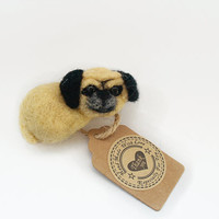 Pug jewelry, Pug brooch broach, dog lover gift , funny dog brosche pin, felt wool animals, felt pug, needle felted pug, felt dog ornament