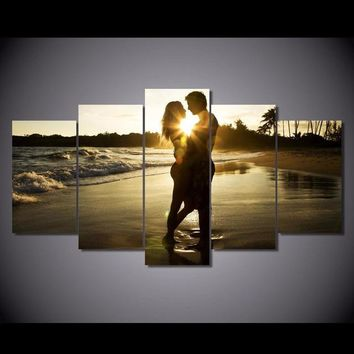Painting Modern Art Live Wall Decoration 5 Panels Lovers Under The Sunrise Landscape Photo Canvas Modular Picture Poster