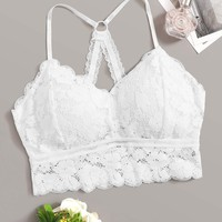 Scalloped Trim Floral Lace Bralette