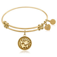 Expandable Bangle in Yellow Tone Brass with Pisces Symbol