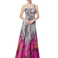Ever Pretty One Shoulder Ruched Bust Long Printed Resort Evening Dress 08394