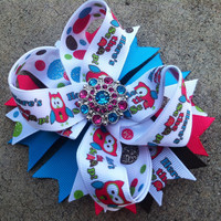 Pink, turquoise, brown and lime owl stacked boutique bow - baby bow - infant bow - girl hair clip