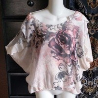 Feminine Rose Print Charlotte Russe Cold Shoulder Sheer Floral Top Blouse S