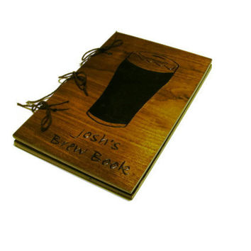 Brew Log Notebook - Walnut Hardwood - Beer Book Journal - Custom Cover Work