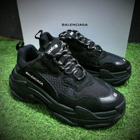 Best Online Sale Fashion Balenciaga Triple-S Sneaker 17FW All Black Casual Shoes 656686W06G011004