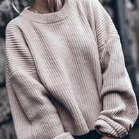 Beige Long Sleeve Knit Sweater