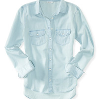 Aeropostale  Womens Long Sleeve Light Wash Chambray Woven Shirt