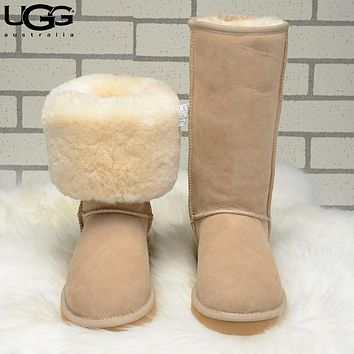 UGG fashion casual pure color and velvet men's and women's tall snow boots