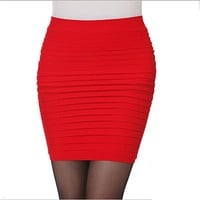 2017 Women Summer Pleated Skirt Candy Color Ladies Short Skirts Elastic Mini Bodycon Skirts Free Size 13 Colors JH950194