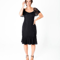 Lala Belle The Label | Corded Lace Flounce Dress Plus Size