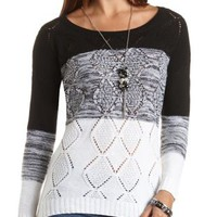 Marled Striped Cable Knit Sweater by Charlotte Russe - Black Combo