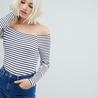 ASOS DESIGN stripe bardot long sleeve body in rib at asos.com