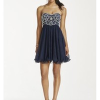 Crystal and Pearl Beaded Bodice Short Tulle Dress - Davids Bridal
