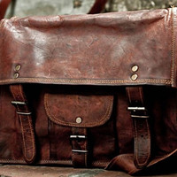 Distressed Leather Messenger Bag Leather Satchel Shoulder Bag Women Handbag Purse