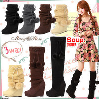Rakuten: [3way sticks plonk; wedge-heel shoes knit boots | P]It has been had ◆- Shopping Japanese products from Japan