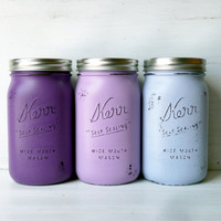 Mother's Day / Purple Ombre / Painted and Distressed Mason Jars / Vase